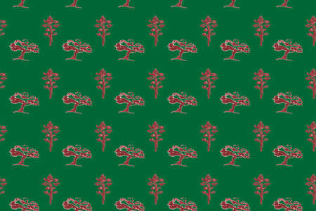 Pine, acacia drawn markers illustration ,seamless pattern on green background. Фото со стока