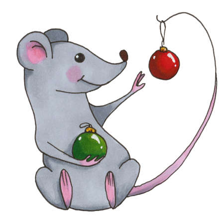 Funny Christmas mouse. element of the new year set Isolated on white background.