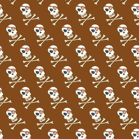 Jolly Roger with eyepatch logo template. Evil skull watercolor illustration. Seamless pattern on brown background Фото со стока