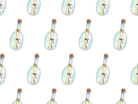 Message in bottle drawing watercolor illustration. Seamless pattern on white background.