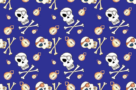 Jolly Roger with eyepatch logo template.. Seamless pattern on blue background