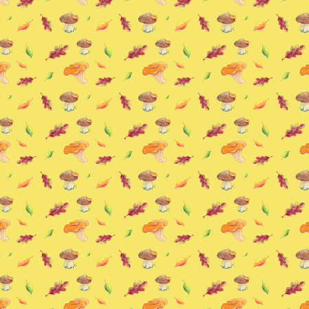 Seamless pattern watercolor foliage and mushrooms on white background.