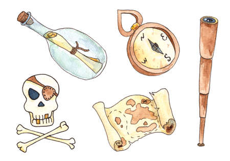 Set icons for pirates week festival in cartoon style.Watercolor illustration Фото со стока