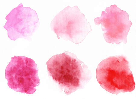 Set of watercolor abstract pink spots. Hand-drawn on paper. Valentine day. Фото со стока