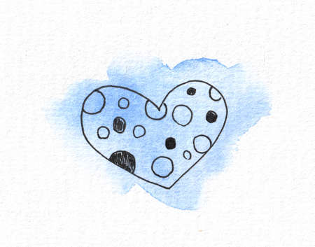 The outline of the heart on the background of a watercolor blue spot. Valentines day