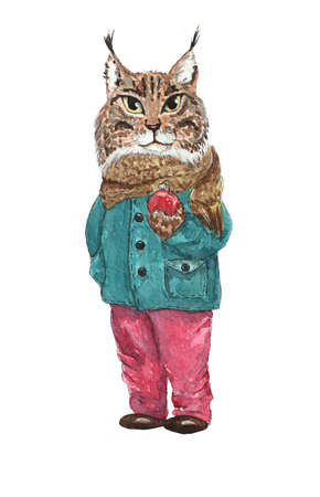 Hand drawn watercolor illustration with cute lynx.