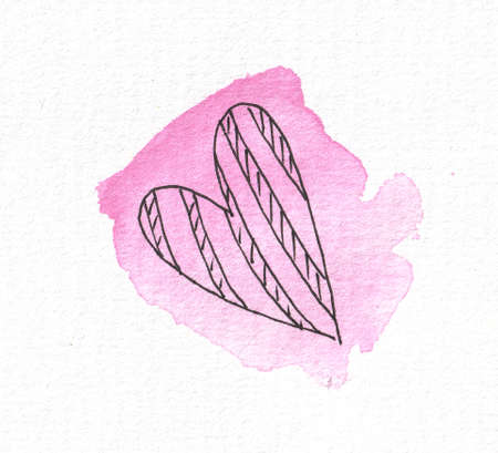 The outline of the heart on the background of a watercolor pink spot. Valentines day