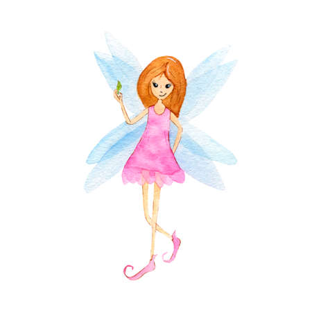Cute Fairy girl in a pink dress. Magic character, isolated on white background. Hand Drawn watercolor illustration