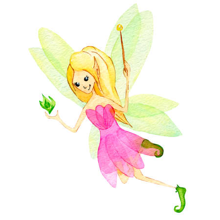 Cute Fairy girl in a pink dress with magic wand. Magic character, isolated on white background