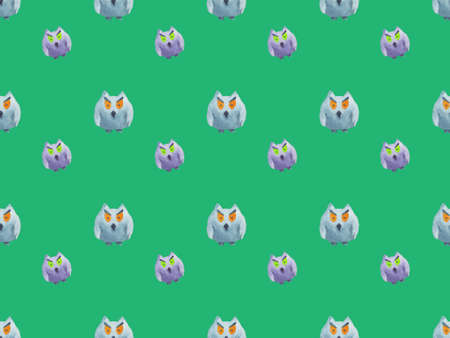 Seamless pattern of owls on green background Halloween watercolor illustration