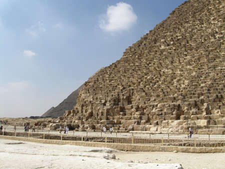 other side: view from the east side, Khufus pyramid in front, the other two pyramids back