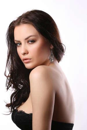 Porträt der schönen Frau trägt einen schwarzen BH Standard-Bild - 4541868