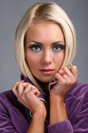 attractive woman isolated on gray background Stock Photo - 6650900