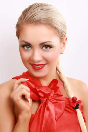 attractive young woman on white Stock Photo - 6650869