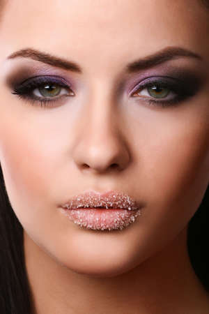 close-up portrait of  young adult with beautiful make-up Stock Photo