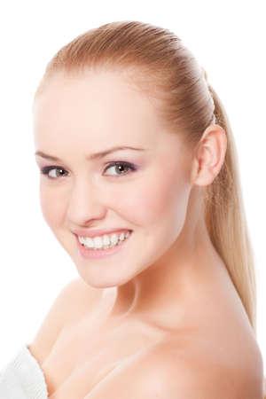 aantrekkelijke jonge caucasian volwassene geïsoleerd op witte achtergrond