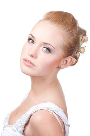 aantrekkelijke jonge Kaukasische volwassene geïsoleerd op witte achtergrond