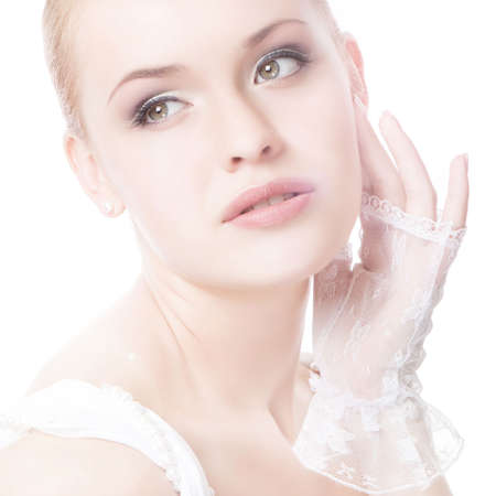 aantrekkelijke jonge caucasian volwassene geïsoleerd op witte achtergrond  Stockfoto