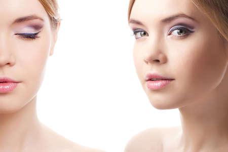 CloseUp portret van aantrekkelijke jonge volwassenen geïsoleerd op witte achtergrond