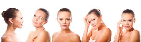 5 verschillende beelden van mooie Kaukasische die vrouw op witte achtergrond wordt geïsoleerd Stockfoto