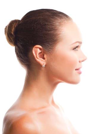 Profiel van:: mooie vrouw geïsoleerd op witte achtergrond