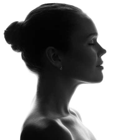 Silhouette of pretty Woman mit hübschen Profil Standard-Bild - 8606729