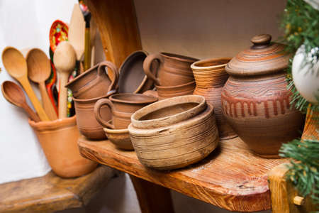 earthenware: traditional clay pottery earthenware, ceramic dishware