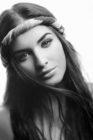 inclined: black and white portrait of beautuful handsome woman inclined a head