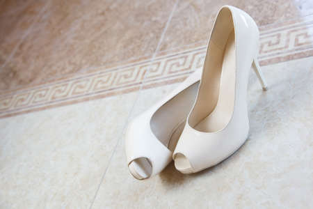 open toe: pair of woman wedding high heels open toe shoes