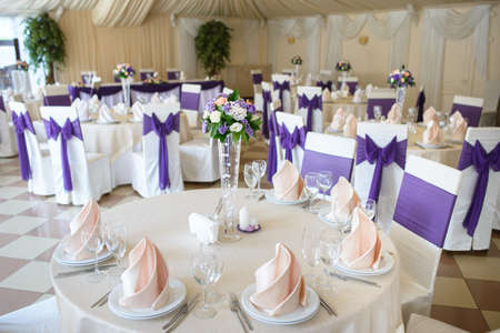 wedding table appointments closeup. Serving table prepared for event party or wedding photo