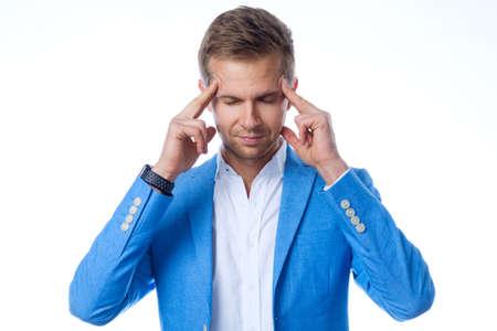 Businessman with headache on white background Stock Photo
