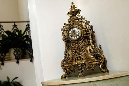 Antique mechanical clock made of metal