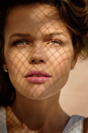 Close-up portrait of beautiful female Stockfoto