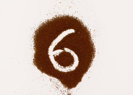 Number made of coffee isolated on white background 스톡 콘텐츠