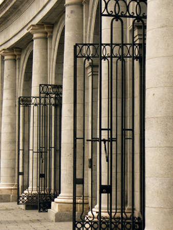 Beautiful antique black iron gates. photo