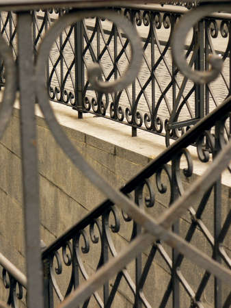 Beautiful wrought-iron fence or balcony-railing. photo