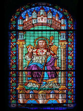 james: Stained Glass of Saint James Cathedral. Santiago de Compostela, Spain.