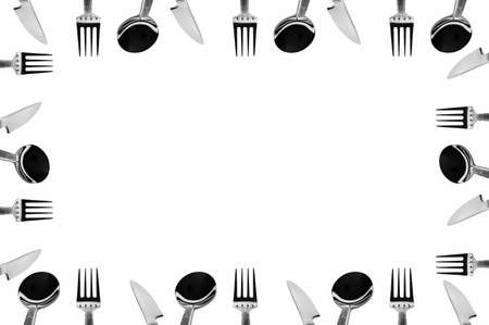 knifes: A frame made of cutlery (forks, knifes and spoons) Stock Photo
