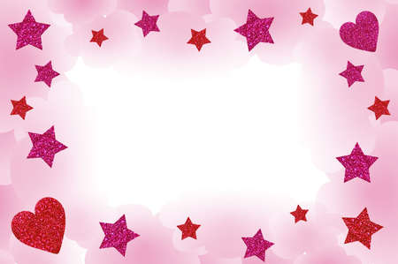 Starry frame, with clouds, hearts and space for your text. Stock Photo