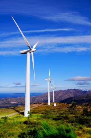 Wind Turbines on the Sea Coast. Stock Photo