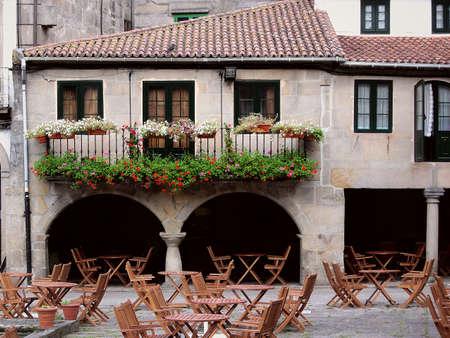 Outdoor restaurant, in Pontevedra, Spain. photo