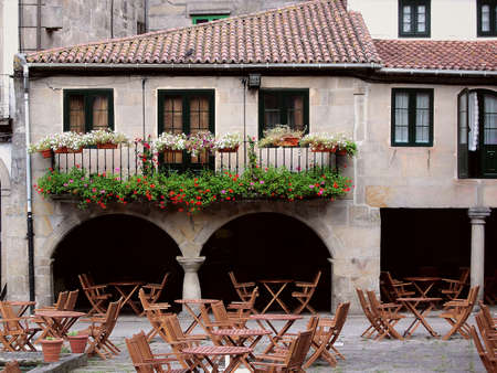 outdoor restaurant: Outdoor restaurant, in Pontevedra, Spain.