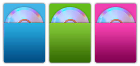 Cd and paper cd case in vibrant colors.