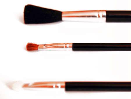 Make-up brushes isolated on white background.