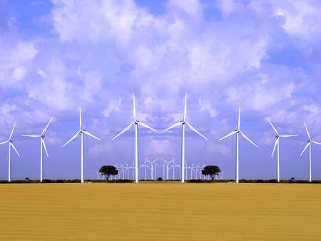 Wind energy field with aerogenerators, wind turbines.