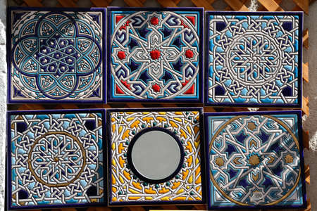 Decorative hand painted ceramic tiles for sale  Tiles based on classic moorish tiling artwork from Andalusia, Spain
