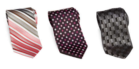 elastic garments: three business isolated ties from white background Stock Photo