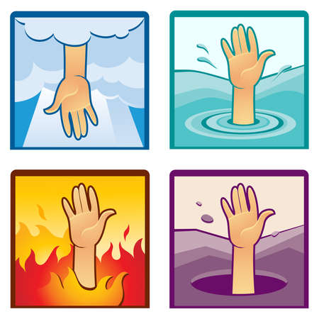 Set of four vector images of reaching human hand in different environment illustrating the concept of help