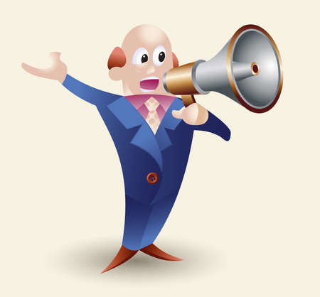 announcer: Vector illustration of a hairless middle-aged man in blue suit announcing through a megaphone Illustration