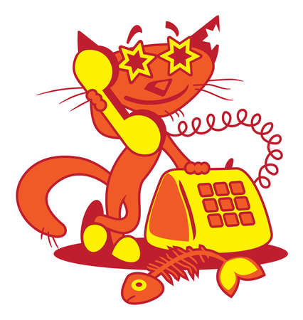 answering phone: Vector illustration of a smiling red cat answering the phone